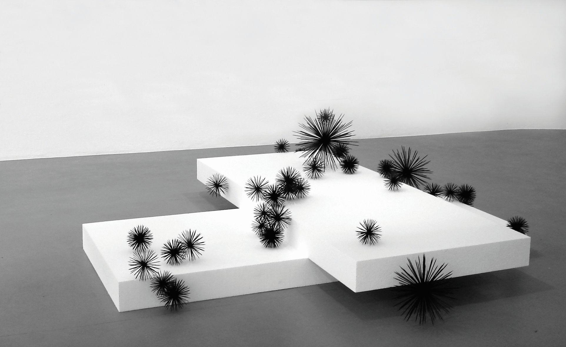 Franziska Furter, Airborne, 2007, polystyrène, bois, colle, peinture, dimensions variables (100 x 250 x 250 cm environ), Frac Alsace © Franziska Furter